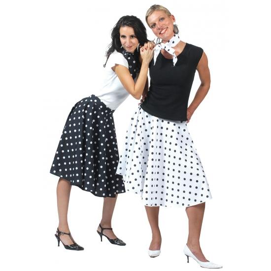 beste prijs exclusieve deals lage prijs 50's rok zwart met witte stippen