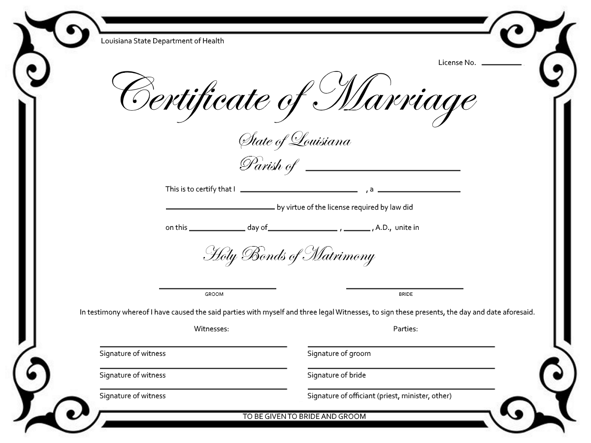 example marriage certificate and facts
